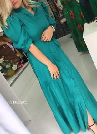 Vestido longo verde mangas bufantes