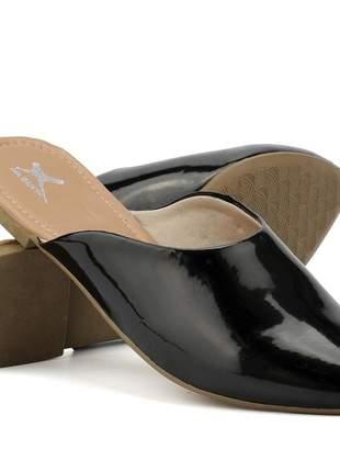 Sapatilha mule em verniz feminino confortável, cor preto
