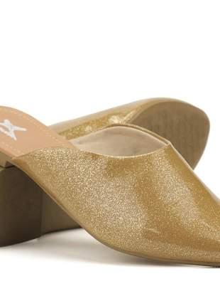 Sapatilha mule em verniz feminino confortável, cor dourado glitter