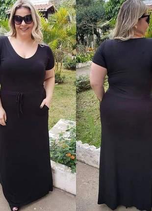 Vestido longo plus size malha soltinho tamanho grande