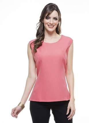 Blusa regata feminina social  gola redonda rosa - 05976