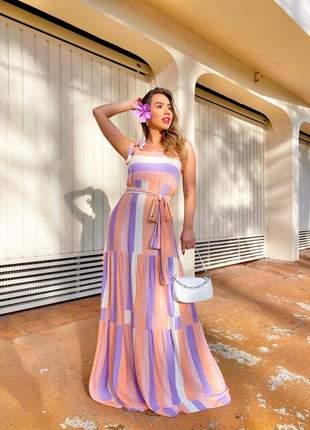 Vestido colorido de alça com cinto laço