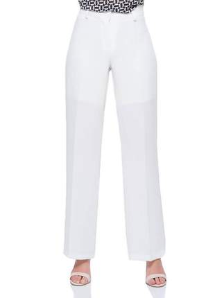 Calça pantalona branca social com passante cru - 05989