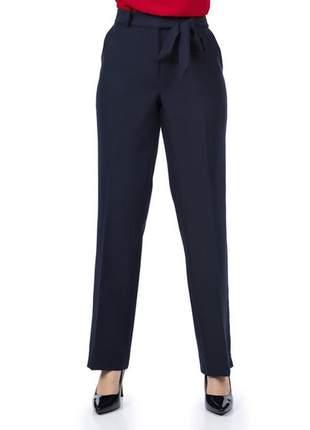 Calça feminina social com faixa e bolso marinho - 05931