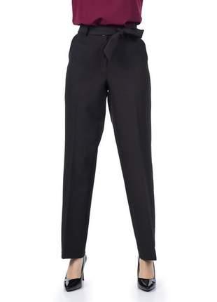 Calça feminina social com faixa e bolso preto - 05931