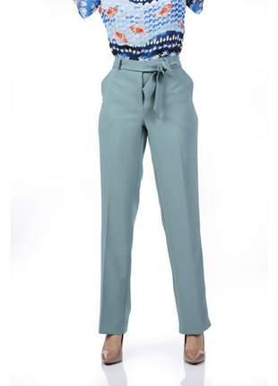 Calça feminina social com faixa e bolso verde - 05931