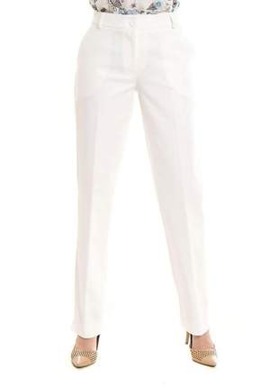 Calça social branca corte reto bolso faca  cru - 05774