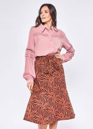 Camisa social feminina com aviamento rosê – 06046