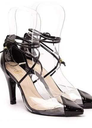 Sandália salto fino/ scarpin preto /vinil