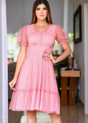 Vestido feminino luxo poá renda
