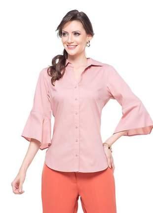 Camisa social rosa chique feminina manga flare - 05980