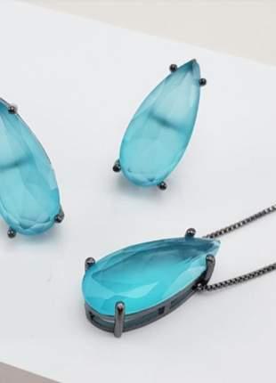Brinco e colar azul