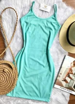 Vestido feminino curto tubinho de alcinha canelado moda verão