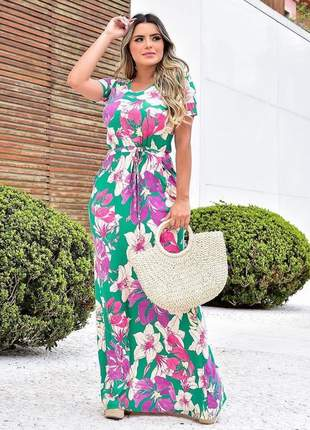 Vestido longo estampado moda evangelica florido tendencia soltinho