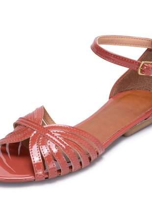 Sandália rasteira feminina goiaba