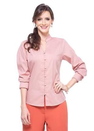 Camisa social manga longa  sem colarinho rosê - 05979