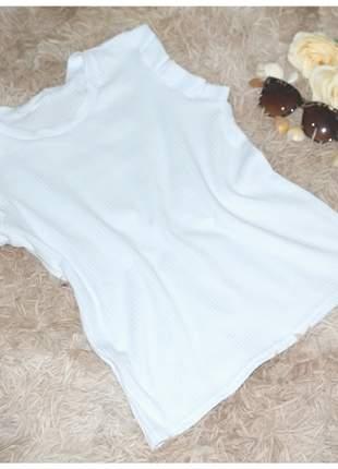 Blusa canelada feminina várias cores manguinha babado verão moda evangélica conforto