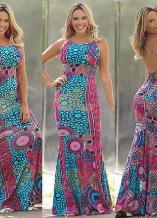 Vestido longo estampado modelo sereia