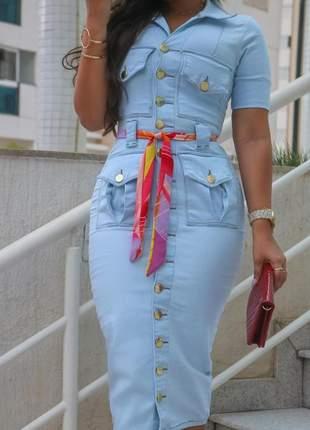 Vestido jeans midi moda evangélica jeans mc com elastano acompanha cinto colorido