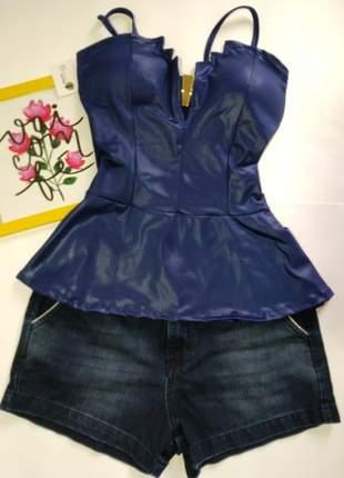 Blusa feminino manga curta com bojo peplum alça