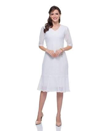 Vestido renda branco decote v com manga 3/4 branco - 05990