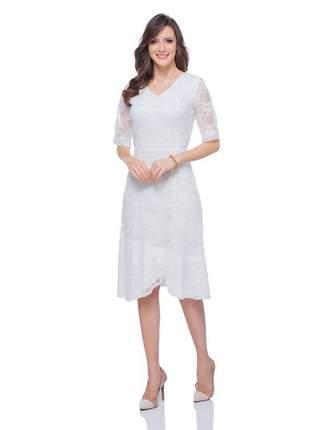 Vestido de renda midi para festa manga 3/4 off white - 05999