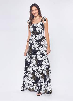 Vestido de viscose longo estampado com alça preto – 06056