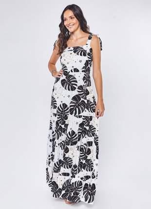 Vestido de viscose longo estampado com alça off white – 06056