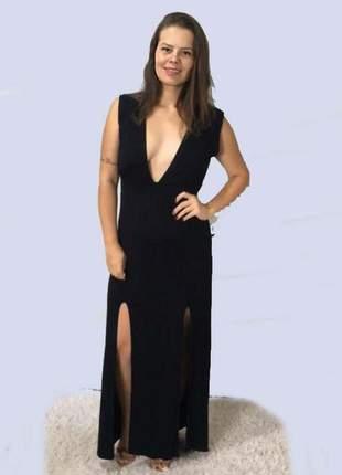 Vestido longo feminino estampado sem bojo e fenda lateral preto sem bojo