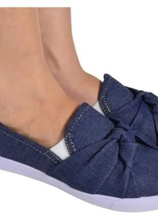 04 pares sapatilha feminina slip on laço nobuck