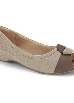 Peep toe feminino sapatilha comfortflex confort leve