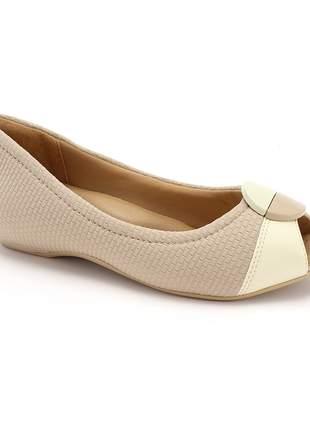 Peep toe feminino sapatilha comfortflex leve