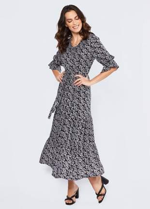 Vestido com elástico midi com babado preto - 06048