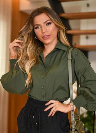 Camisa blusa feminina social manga longa