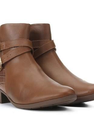 Bota feminina ankle boot cano curto caramelo comfortflex