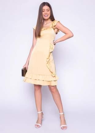 Vestido de babado jovial elegante liso mostarda - 06024
