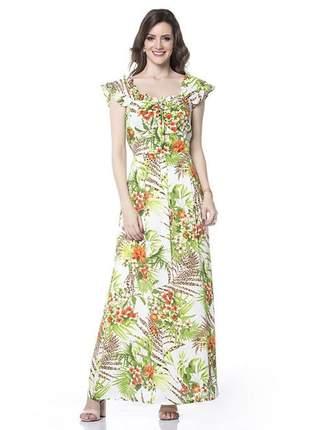 Vestido estampado longo alça larga com babado verde - 05875