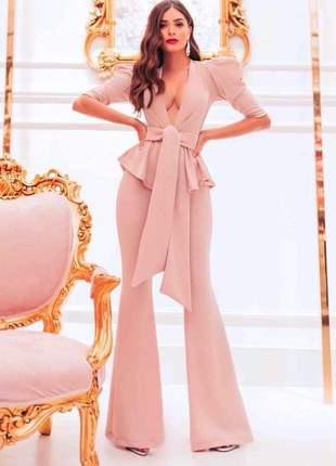 Macacão feminino pantalona longo com laço