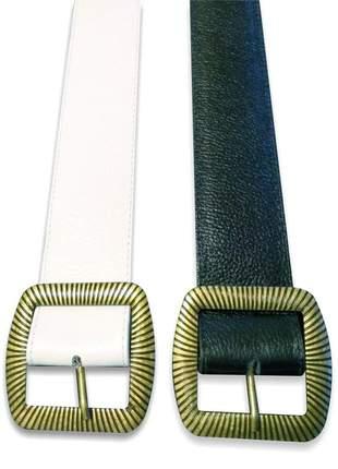 Cinto feminino largo couro legítimo fivela grande em metal
