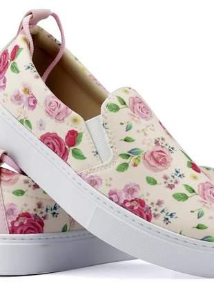 Tênis slip on floral linha primavera