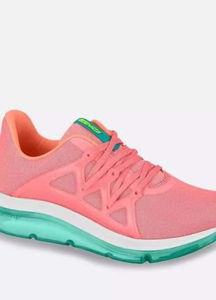 Tênis esportivo rosa feminino academia fitness prático macio