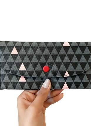 Carteira feminina fina longa fashion triangulos preto