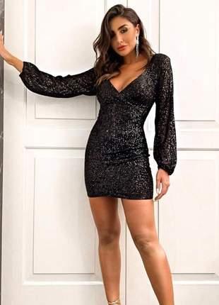 Vestido feminino curto justo elegante paete para festa balada