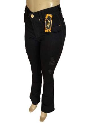 Calças flare feminina jeans cintura alta