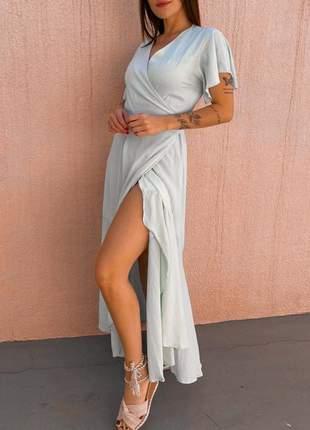 Vestido longo feminino de festa balada manga longa basico