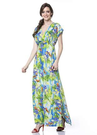 Vestido floral longo manga japonesa decote v azul - 05871