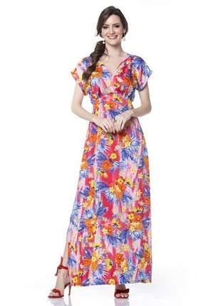 Vestido floral longo manga japonesa decote v vermelho - 05871