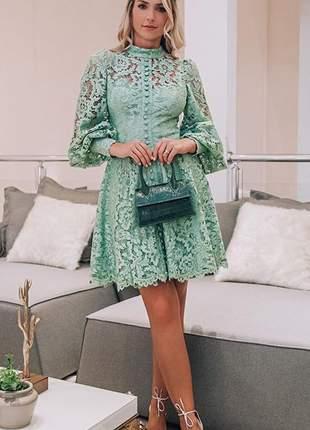 Vestido midi renda verde doce maria