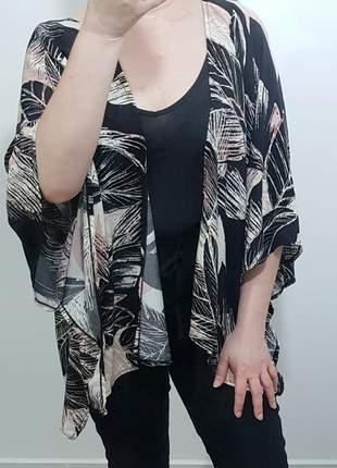 Kimono estampado em viscose