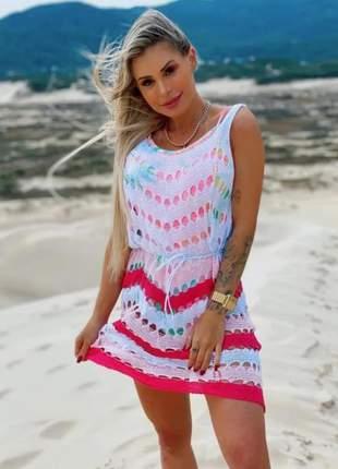 Saída de praia de croche vestido curto